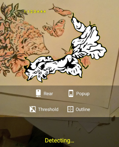 Image of the Artcodes app reading a design